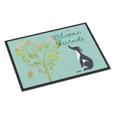18 in. x 27 in. Indoor/Outdoor Welcome Friends Black White Greyhound Door Mat