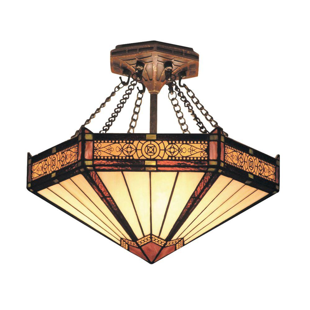 Titan Lighting Filigree 3 Light Aged Bronze Ceiling Semi Flush Mount