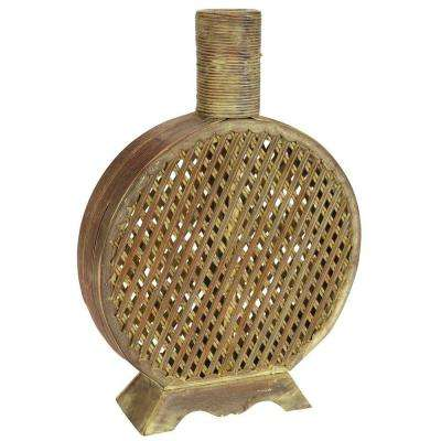 16.75 in. H Beige Open Weave Decorative Vase