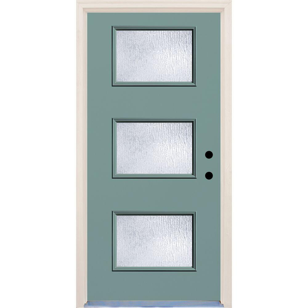 Builders Choice 36 in. x 80 in. Left-Hand Surf 3 Lite Rain Glass ...