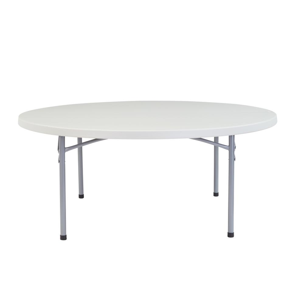 national public seating 71 in grey round plastic folding table bt 71r the home depot. Black Bedroom Furniture Sets. Home Design Ideas