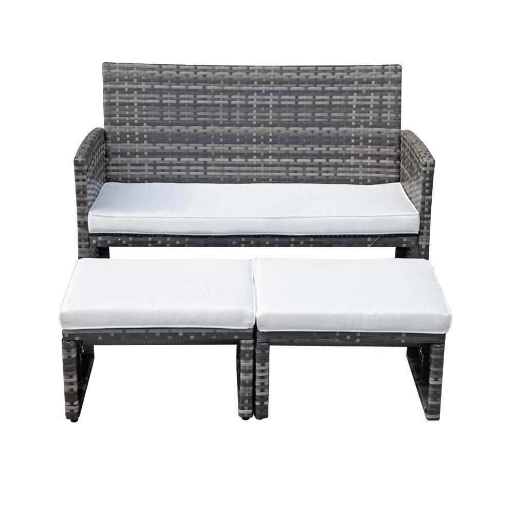 Orange Casual 3-Piece Wicker Outdoor Bistro Set with White Cushion