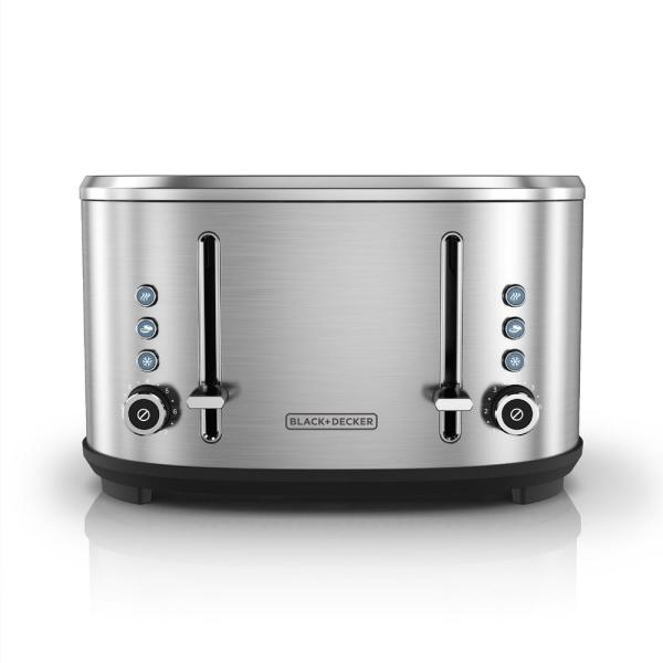BLACK+DECKER 4-Slice Stainless Steel Extra-Wide Slot Toaster with Crumb Tray