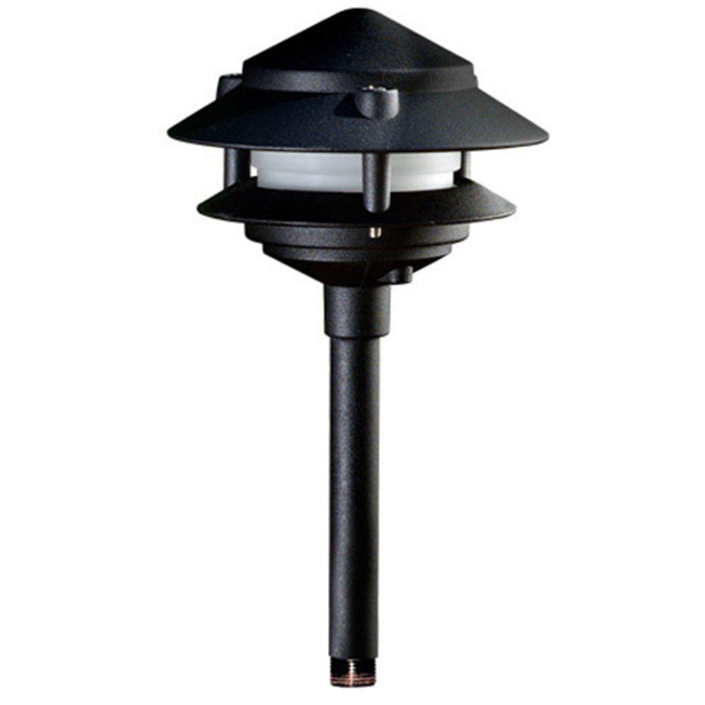 Corbin 1-Light Black 2-Tier Outdoor Pagoda Pathway Light