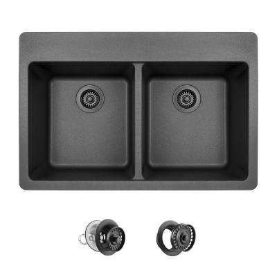 All-in-One Drop-in Granite Composite 33 in. 3-Hole Equal Double Bowl Kitchen Sink in Black