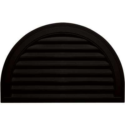 22 in. x 34 in. Half Round Gable Vent in Black