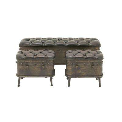 Vintage Dark Brown Iron and Leather Cushioned Storage Benches with Iron Feet (Set of 3)