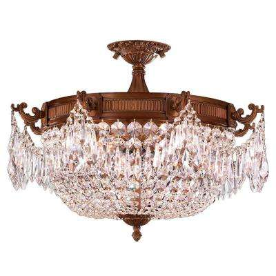 Winchester 4-Light French Gold and Clear Crystal Semi-Flush Mount Light