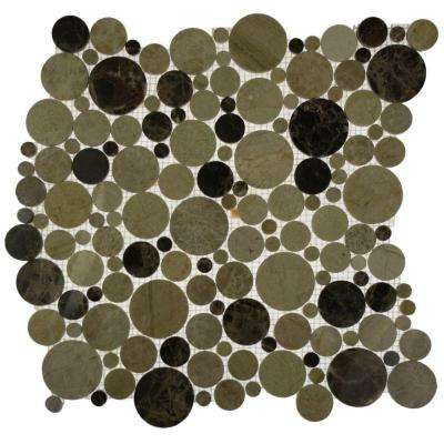 Orbit Woodland Circles Mosaic Floor and Wall Tile - Tile Sample