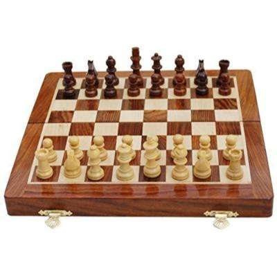 Handmade Magnetic Rosewood Folding Board Chess Set with Storage