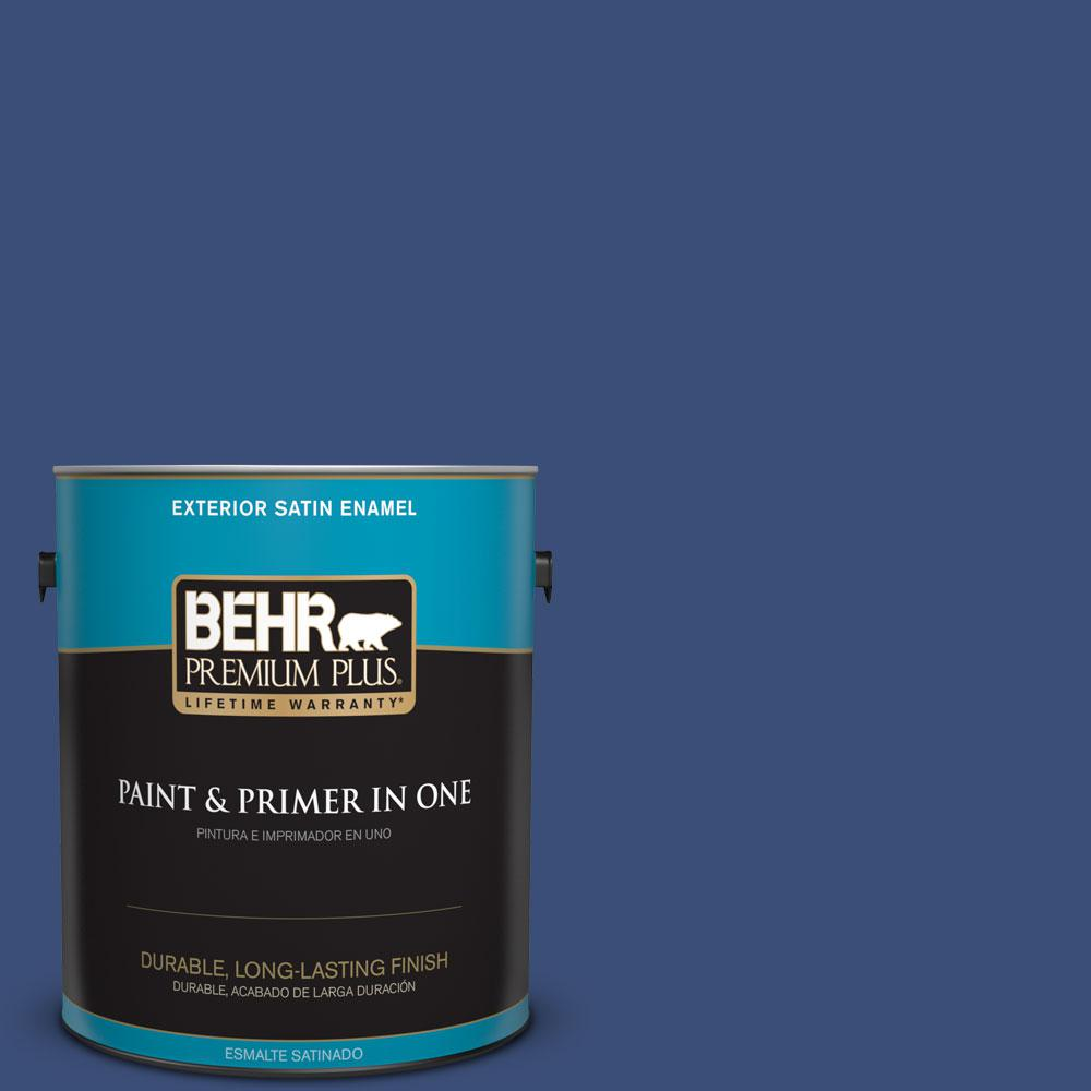 BEHR Premium Plus 1-gal. #600D-7 Daring Indigo Satin Enamel Exterior Paint