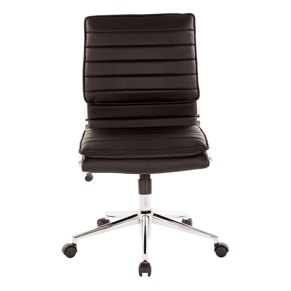 Armless Mid Back Manager's Black Faux Leather Office Chair