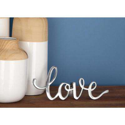 """14 in. x 6 in. Aluminum """"Love"""" Sign in Silver, Gold and Gray (Set of 3)"""