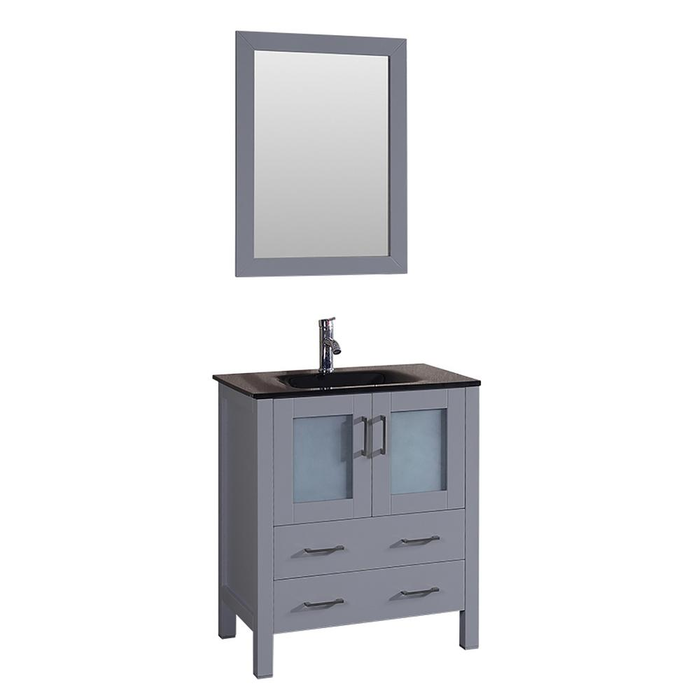 Bosconi 30 in. W Single Bath Vanity with Tempered Glass Vanity Top in Black with Black Basin and Mirror