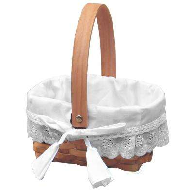 7 in. W x 6.2 in. D x 4 in. H Wood Small Basket lined with Ruffled Removable Lining