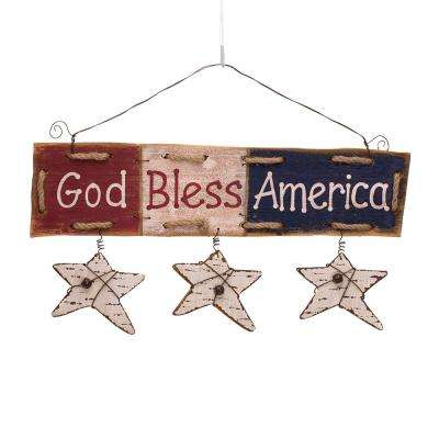 7.87 in. H Wooden Word Sign with Star Dangle