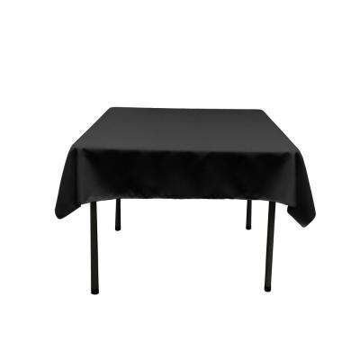 52 in. by 52 in. Black Polyester Poplin Square Tablecloth
