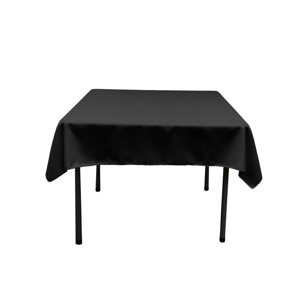 58 in. x 58 in. Black Polyester Poplin Square Tablecloth
