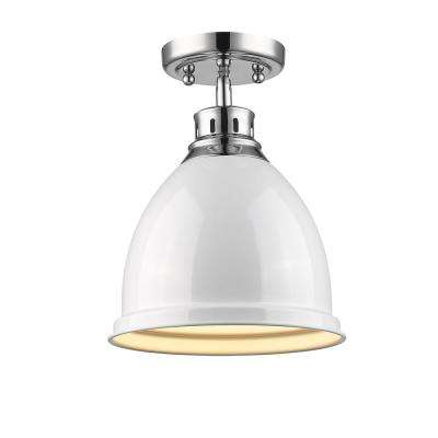 Duncan 1-Light Chrome Flush Mount with White Shade