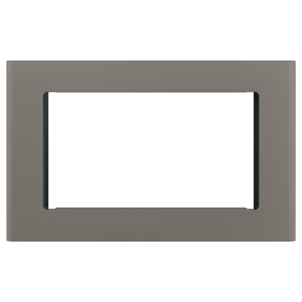 Microwave Optional 27 in. Built-In Trim Kit in Slate (Grey), Fingerprint Resistant Get a custom appearance for your microwave with the GE's Optional Built-In 27 in. Microwave Trim Kit in Slate. With a timeless look, this trim kit is ideal for the home or office to be enjoyed for years and years to come. It is intended for the GE 2.0 or 1.8 cu. ft. microwave oven.