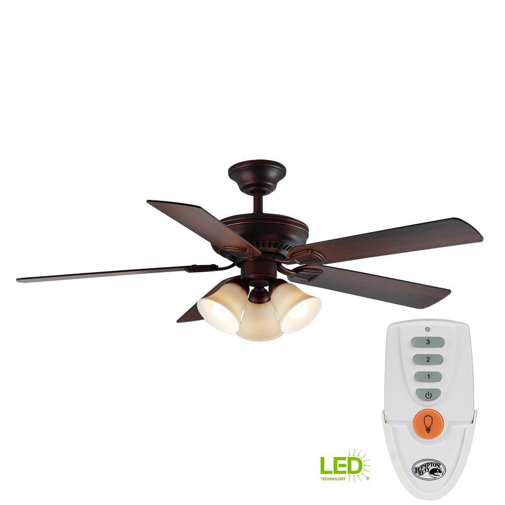 LED Indoor Mediterranean Bronze Ceiling Fan with Light Kit and