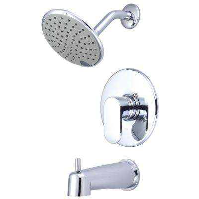 i1 1-Handle Wall Mount Tub and Shower Trim Kit in Polished Chrome with Rain Showerhead (Valve Not Included)