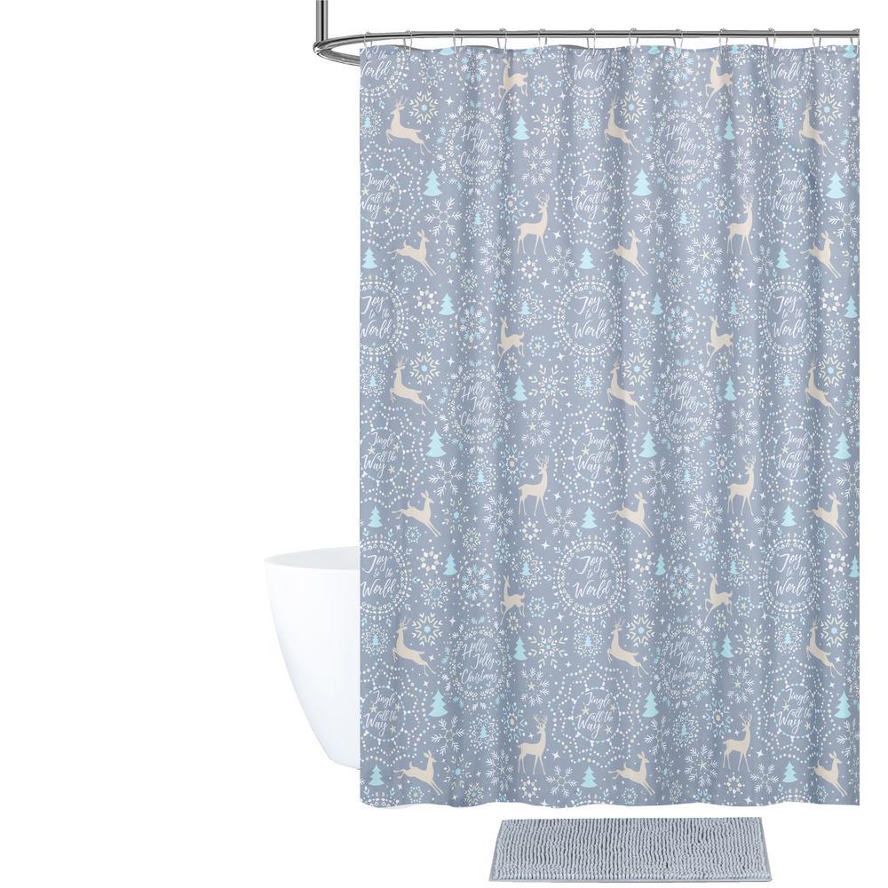 Jolly Christmas Shower Curtain and Bath Rug Set (14-Piece)
