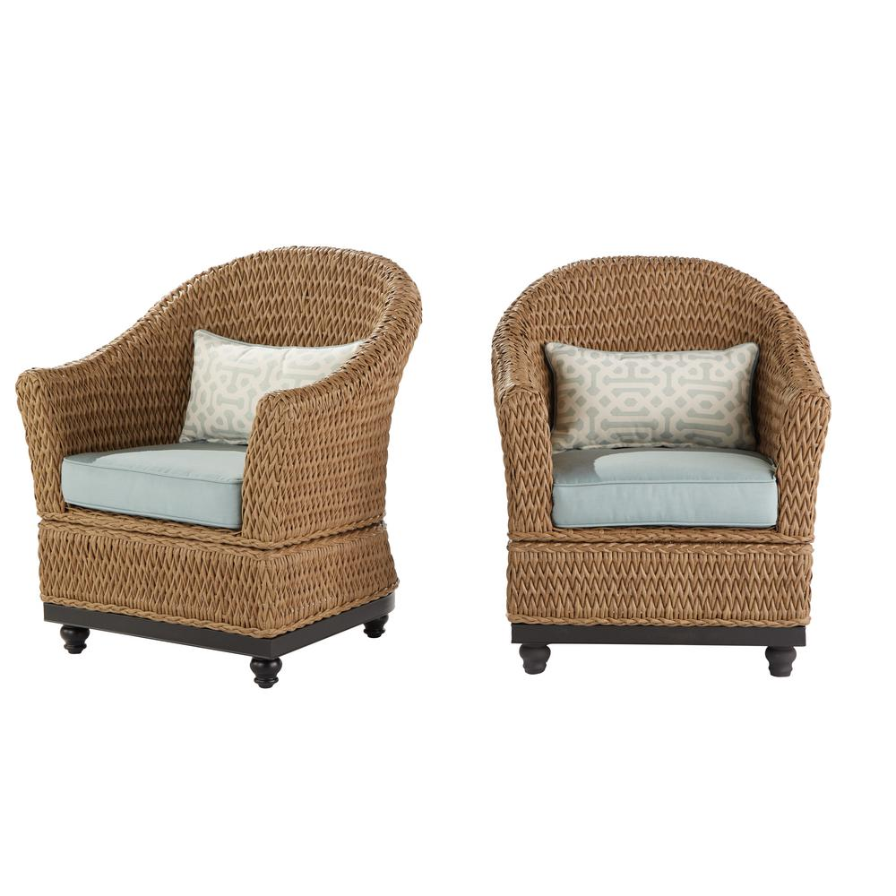 Home decorators collection camden light brown wicker outdoor porch chat lounge chair with fretwork mist cushions