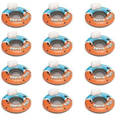 CoolerZ Orange Rapid Rider Inflatable Blow Up Pool Chair Tube (12-Pack)