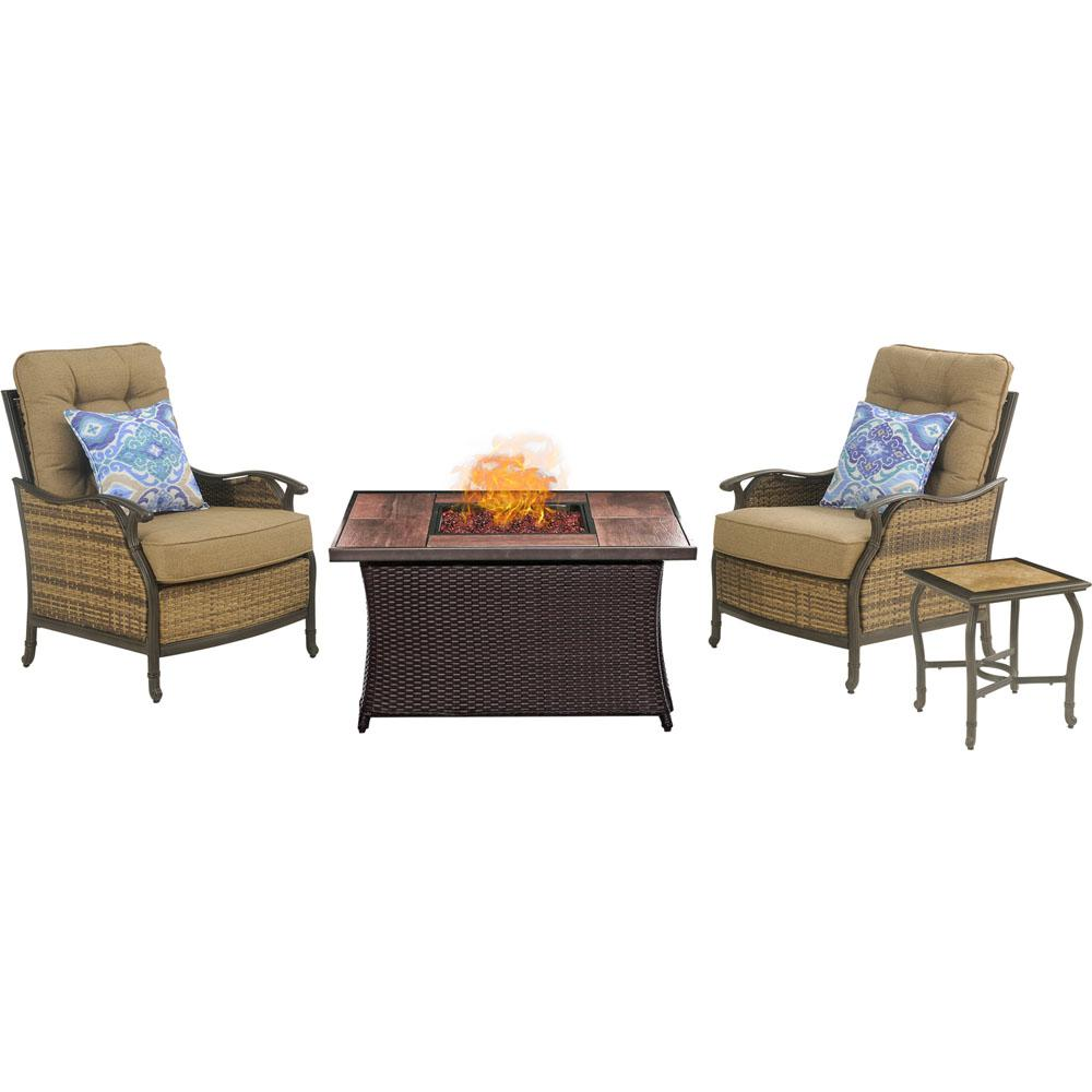 Hudson Square 3-Piece Patio Fire Pit Conversation Set with Wood Grain