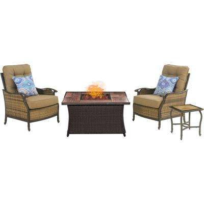 Hudson Square 3-Piece Patio Fire Pit Conversation Set with Wood Grain Tile Top and Teak Cushions
