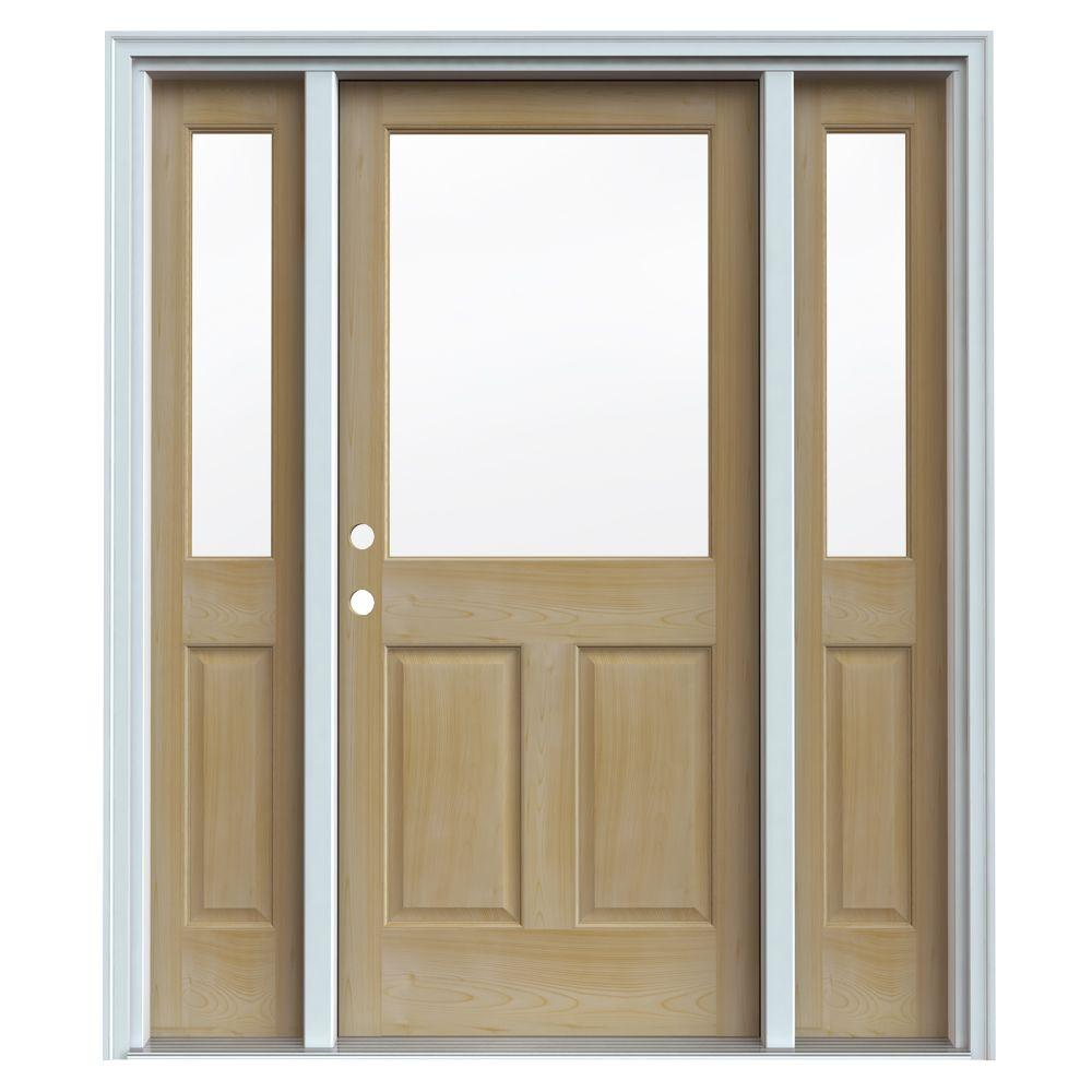 JELD-WEN 1/2 Lite Unfin AuraLast Pine Wood Prehung Front Door with Two 14 in. Sidelites & Primed Jamb & Brick-DISCONTINUED