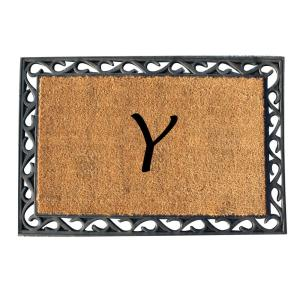 A1HC First Impression 24 inch x 36 inch Rubber Tray Door Mat-Monogrammed Y by