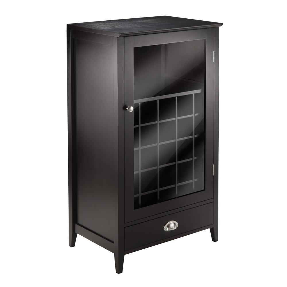 Bordeaux 25-Bottle Espresso Bar Cabinet
