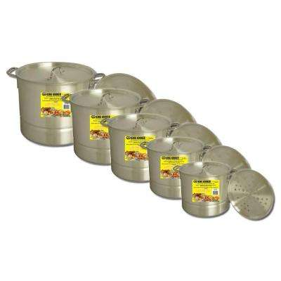 Aluminum Pot Set with Lids and Steamer Plates