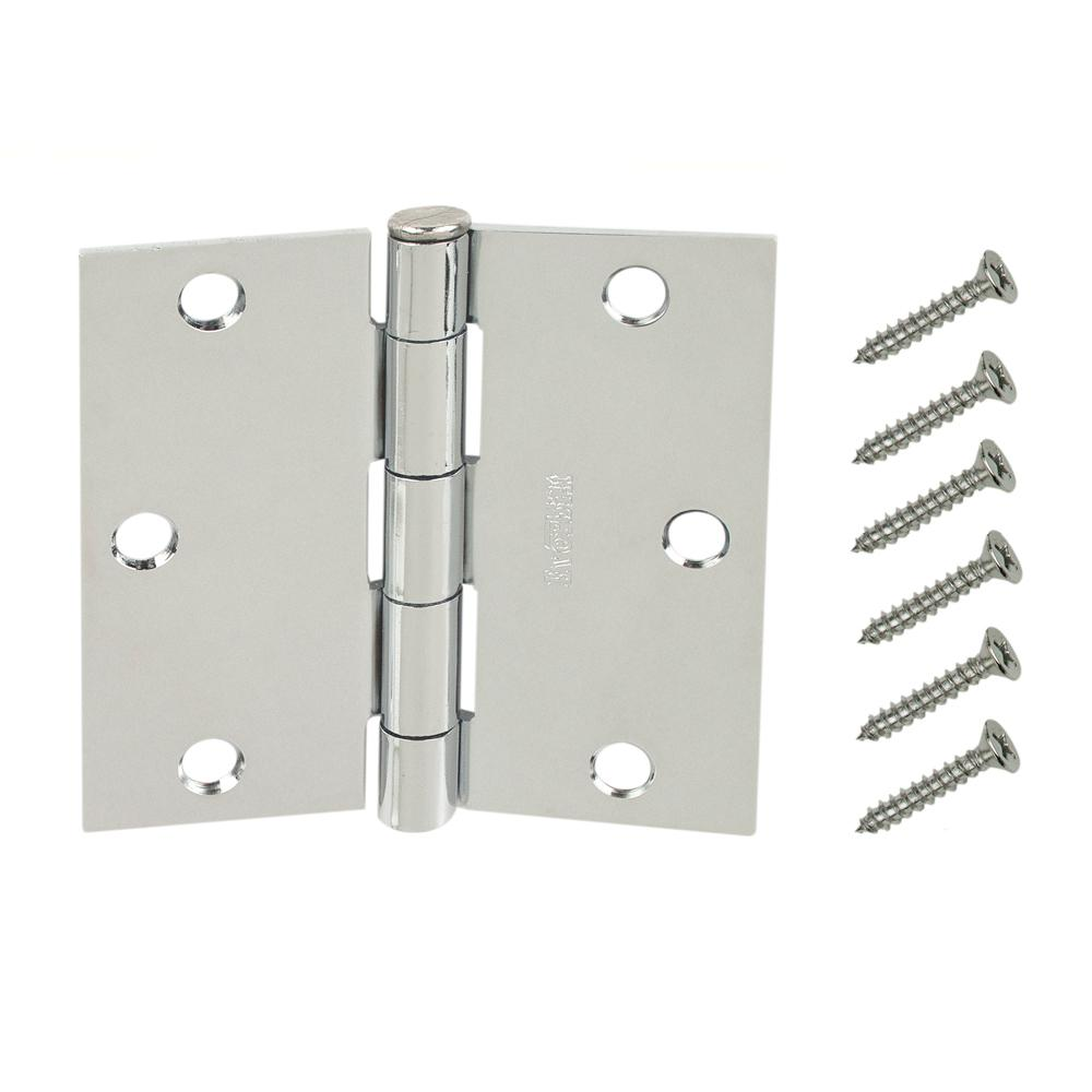 Chrome Square Radius Door Hinges Value Pack (