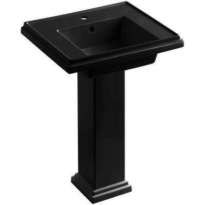 Tresham Ceramic Pedestal Combo Bathroom Sink with Single-Hole Faucet Drilling in Black Black with Overflow Drain