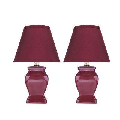 14-1/2 in. Maroon Ceramic Table Lamp with Hardback Empire Shaped Lamp Shade in Maroon (2-Pack)