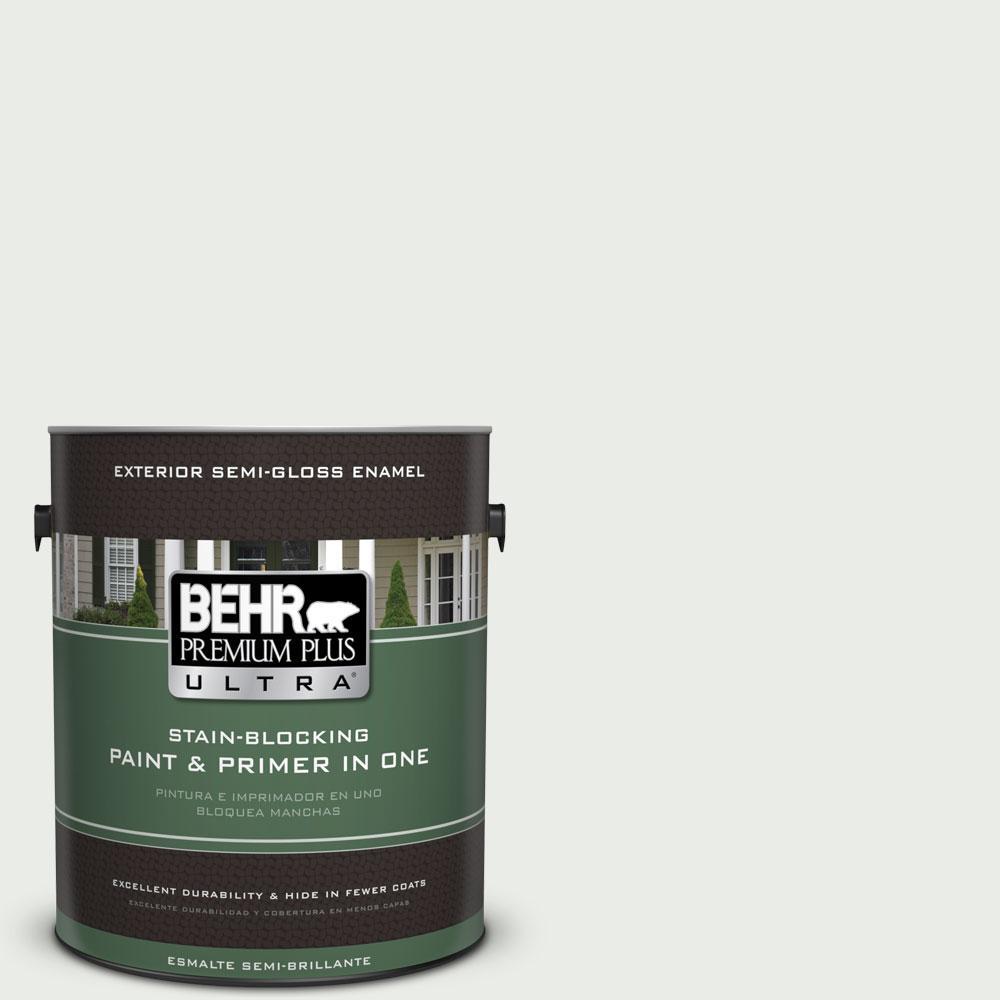 BEHR Premium Plus Ultra 1-gal. #710E-1 Snow Leopard Semi-Gloss Enamel Exterior Paint