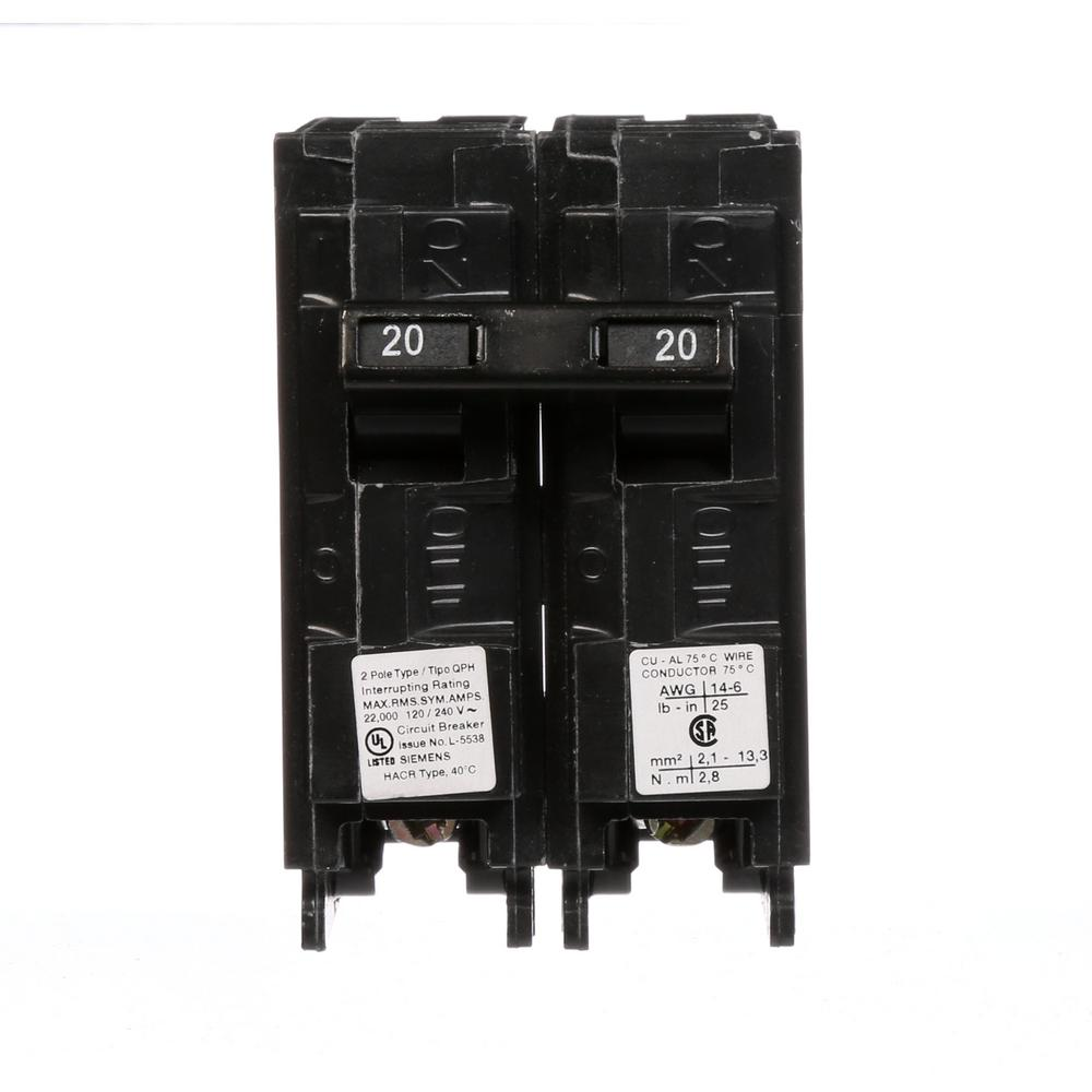 Siemens 20 Amp Double Pole Type Blh 22 Ka Bolt On Circuit Breaker 20a Afci Chfcaf120neweggcom 2 Qph