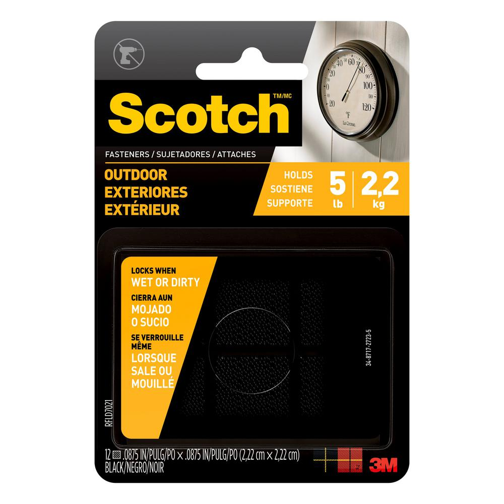 Scotch 7/8 in. x 7/8 in. Black Outdoor Fasteners (6 Sets-Pack)