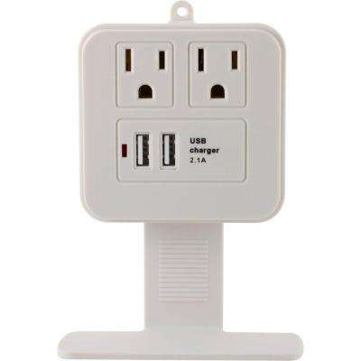 2 USB/2 AC Surge Protector with Charging Shelf