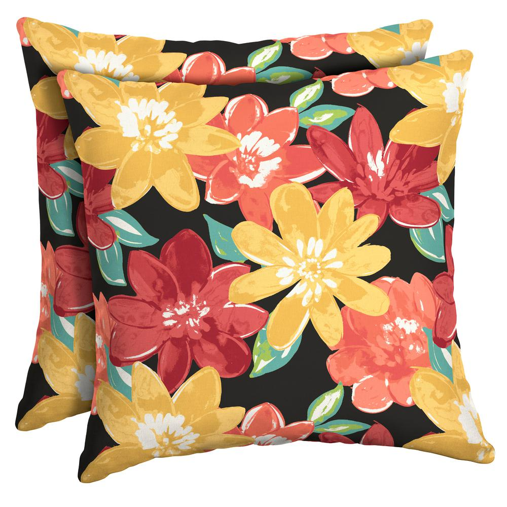 Arden Selections 16 x 16 Ruby Abella Floral Square Outdoor Throw Pillow (2-Pack)
