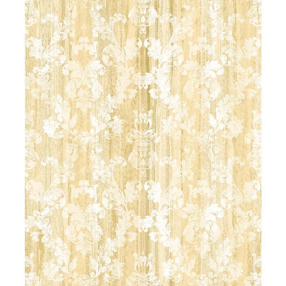 8 in. x 10 in. Camilia Honey Damask Wallpaper Sample