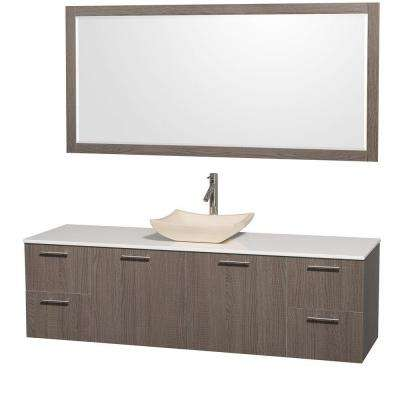 Amare 72 in. Vanity in Grey Oak with Man-Made Stone Vanity Top in White and Ivory Marble Sink