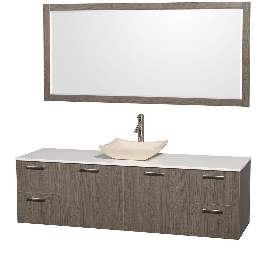 Amare 72 in. Vanity in Grey Oak with Man-Made Stone Vanity