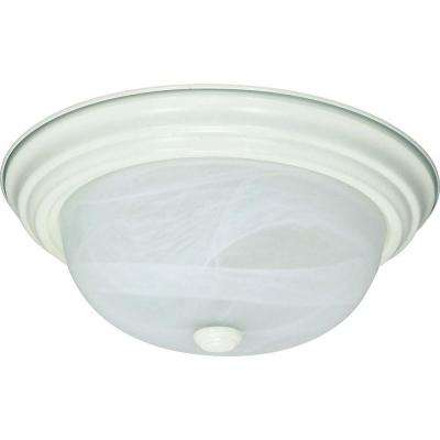 2-Light Textured White Flush Mount with Alabaster Glass