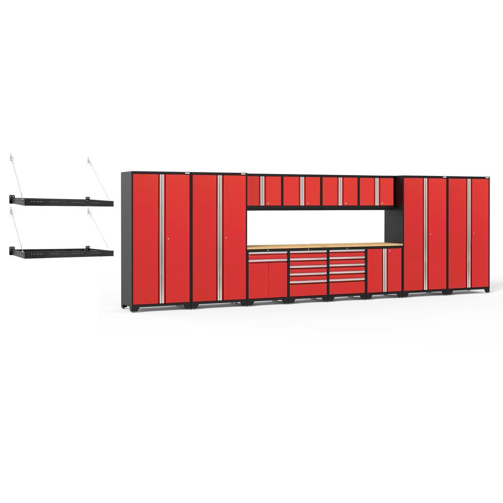 Pro Series 256 in. W x 85.25 in. H x 24 in. D 18-Gauge Steel Cabinet Set in Red (16-Piece)