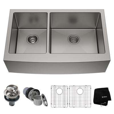 Standart PRO Farmhouse Apron-Front Stainless Steel 33 in. Double Bowl Kitchen Sink