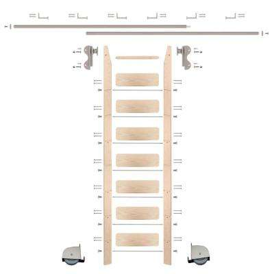 8 ft. Maple Ladder (9 ft. Reach) Satin Nickel Contemporary Rolling Hook Hardware 12 ft. Rail and Horizontal Brackets